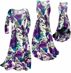CLEARANCE! Indigo Blue & Purple Bellflowers Floral Slinky Plus Size & Supersize Dresses XL 0x