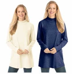 SALE! Ivory or Navy Perfect Mock Plus Size Turtleneck Tunic 3x 4x 5x