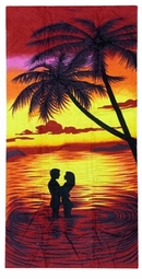 "SALE! Large Oversize Soft Cotton Velour Romantic Sunset Beach Towel! 30"" x 60"""