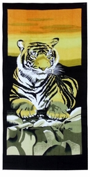 "SALE! Large Oversize Soft Cotton Velour Tiger On The Rocks Beach Towel! 30"" x 60"""