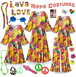 CLEARANCE! Lava Love Print Hippie Costume - 60's Style Retro Dress or Top & Wide-Bottom Pant Set Plus Size & Supersize Halloween Costume Kit 1x 2x 3x 4x 5x