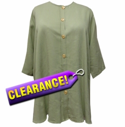 SALE! Light Pale Green Button Up Lida Caputo Top 2x-3x