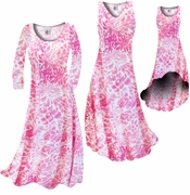 SALE! Light Pink Tropical Flowers & Spots  Slinky Print Plus Size & Supersize A-Line Dress 5x