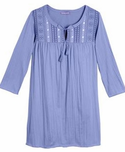 SALE! Light Purple Crinkle Knit Plus Size Tunic Top With Tie Neck And Embroidery 4x