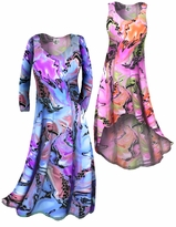 CLEARANCE! Lightweight Colorful Pink Marble Print Slinky Plus Size & Supersize A-Line Shirt  XL