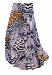 CLEARANCE! Lilac & Brown Multi Animal Skin Slinky Print Plus Size & Supersize Skirts! 1x 4x