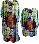 FINAL SALE! Lime Brown & Pink Print Poly/Satin Plus Size & Supersize Caftan Dress or Shirt 1x to 6x