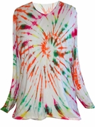 SALE! Long or Short Sleeve V Neck White Red Green Yellow Bright Swirl Tie Dye Plus Size T-Shirt 3x 5x