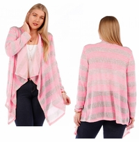 SOLD OUT! SALE! Long Pink Striped Plus Size Knit Cardigan Jacket 4x