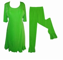 SALE! Lovely Green Poly/Cotton Plus Size Princess Cut Ruffle Trim 2 Piece Top & Pants Set 2x