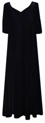 CLEARANCE!  Lovely Plain Solid Black V-Neckline Slinky Plus Size Dress 3x