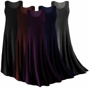 SALE! Lovely Solid Black, Brown, Blue, Pink, Green, Tan,  White, Yellow, Red or Purple Slinky Princess Cut Tank Dress 0x 2x 3x 4x 5x 6x