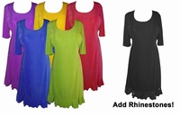 SALE! Lovely Solid Color Princess Cut Ruffle with Rhinestones Slinky or Cotton Plus Size & Supersize Dresses Shirts Pants & Skirts 0x 1x 3x 4x 5x 8x