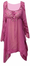 SALE! Magenta Semi Sheer Flutter With Metal Decor Plus Size Top 3x
