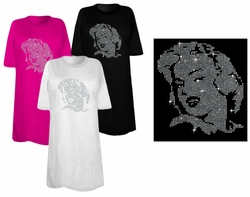 SOLD OUT! SALE! Marilyn Monroe Portrait Sparkly Rhinestuds Plus Size & Supersize T-Shirts 5x Supersize