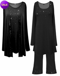 SALE! Starry Night Plus Size & Supersize Jacket & Tank Top Sets or Top & Skirt Sets! Black Purple or Lime Green  Xl 0x 3x 4x 6x