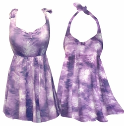 SALE! Medium Purple & White TyeDye Print Plus Size Shoulder Strap 2pc Swimsuit With Bottoms 1x 2x/3x
