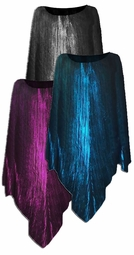 SALE! Metallic Vertical Lines in Fuschia, Silver, or Blue & Black Slinky Plus Size Supersize Poncho