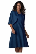 SALE! Midnight Blue Full Bottom Fit and Flare Plus Size Jacket Dress 5x/34