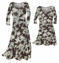 SALE! Mint Green & Chocolate Brown Blotches Slinky Print Plus Size & Supersize A-Line Dresses & Shirts 0x 1x  2x