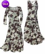 SALE! Mint Green & Chocolate Brown Blotches Slinky Print Plus Size & Supersize Standard A-Line Dresses 3x 5x