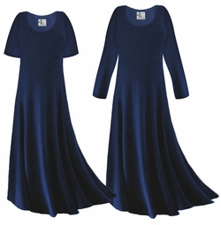 CLEARANCE! Navy Blue Slinky Plus Size & Supersize Sleeve Dress 1x