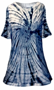SALE! Navy Blue Swirl Tie Dye Plus Size Supersize A-Line or Princess Seam X-Long T-Shirt 1x 2x 3x 4x 5x 6x 8x