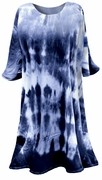 SALE! Navy Blue Tie Dye Plus Size Supersize A-Line or Princess Seam X-Long T-Shirt 1x 2x 3x 4x 5x 6x 8x