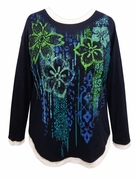 SALE! Navy Floral Glittery Long Sleeve Plus Size Shirt 1x 2x 3x