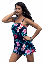SALE! Navy With Pink Floral Plus Size Swimdress 3x 4x