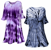 CLEARANCE! Navy or Purple Marble or Swirl Plus Size & Supersize X-Long Tie Dye T-Shirt 1x
