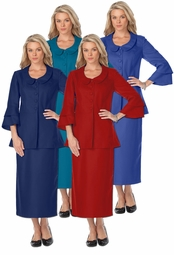 SALE! Navy, Royal, Red, or Dark Teal Tiered Sleeve Plus Size Skirtsuit  4x/32