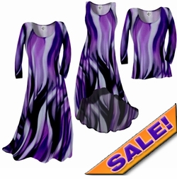 Sale! Purple Slinky Swirls Yummy Slinky A-Line or Princess Cut Dresses & Shirts, 2X 3X 6X