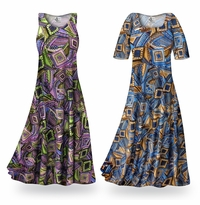 CLEARANCE! Nifty Squares Slinky Print Plus Size & Supersize Standard or Cascading A-Line or Princess Cut Dresses & Shirts 0x 2x 3x 4x