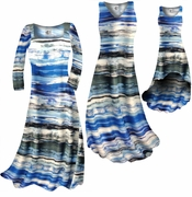 SOLD OUT! SALE! Ocean Blue Lines Print Slinky Plus Size & Supersize A-Line Dresses  0x 1x