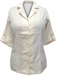 LAST ONE! Just Reduced! Off White Short Sleeve Button Down Blouse Plus Size 2x/22w
