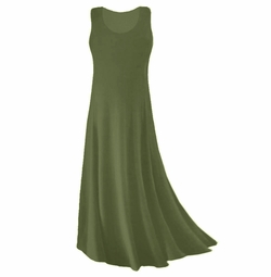 CLEARANCE! Olive Green Spandex Plus Size & Supersize Tank Dress 2x