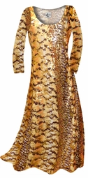 CLEARANCE! Orange, Brown and Yellow Autumn Leaves Metallic Slinky Print Plus Size & Supersize Dress 1x