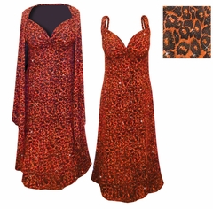CLEARANCE! 2-Pc Black Slinky w/ Orange Leopard Glitter Petite Plus Plus Size & Supersize Princess Seam Dress Set 2x ONLY