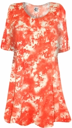 SALE! Orange Tie Dye Print Plus Size Supersize T-Shirt 5x