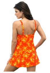 SOLD OUT! Orange & Yellow Tropical Floral Plus Size Swimdress 5x