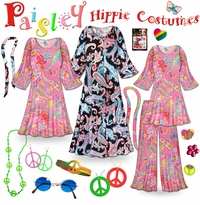 CLEARANCE! Paisley Print Hippie Costume - 60�s Style Retro Dress or Top & Wide-Bottom Pant Set Plus Size & Supersize Halloween Costume Kit 0x 1x 3x 4x