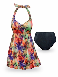 CLEARANCE! Palm Sunset Print Halter Style Plus Size Swimsuit / SwimDress 0x 1x 2x 4x