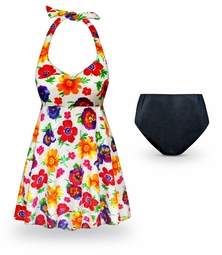 CLEARANCE! Pansy Dance Print Halter Style 2pc Plus Size Swimsuit / SwimDress 6x