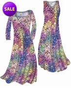 SALE! Pastel Rainbow Squares Print Slinky Plus Size & Supersize A-Line Dress 1x