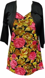 SALE! Pink & Green Floral Top With Attached Black Shrug Jacket Plus Size Top 1x 2x