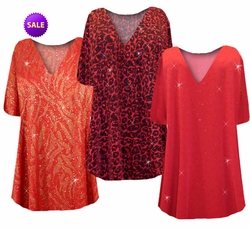SALE! Plus Size A Line Tunic Tops Red w/Gold Zebra, Hearts, Black w/Ruby Leopard 3x