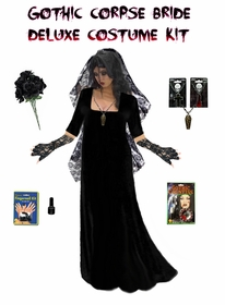 SALE! Plus Size Corpse Bride or Plus Size Ghost Bride Costume Supersize in Black or Red  + Accessory Kit! Lg XL 0x 1x 2x 3x 4x 5x 6x 7x 8x 9x