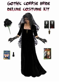 SALE! Plus Size Corpse Bride or Plus Size Ghost Bride Costume Supersize in Black or Red  + Accessory Kit! 0x 2xT