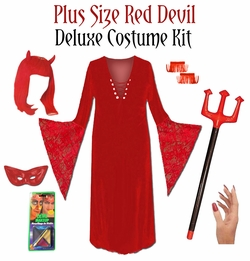 Sale! Plus Size Devil Costume + Accessory Kit! Plus Size & Supersize Halloween Costume Lg XL 0x 1x 2x 3x 4x 5x 6x 7x 8x 9x